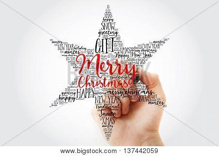 Hand Writing Merry Christmas