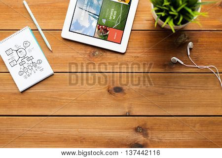 mass media, business and technology concept - close up of tablet pc computer with internet news application on screen, notebook with scheme, pencil and earphones on wooden table