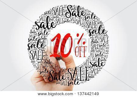 Hand Writing 10% Off Circle Word Cloud