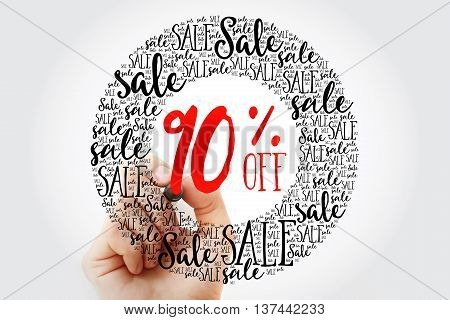 Hand Writing 90% Off Sale Circle Word Cloud