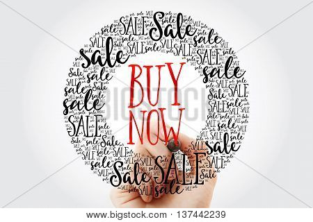Hand Writing Buy Now Circle Word Cloud