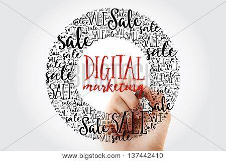 Hand Writing Digital Marketing Circle