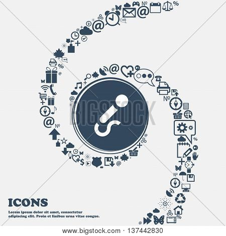 Microphone Icon Sign In The Center. Around The Many Beautiful Symbols Twisted In A Spiral. You Can U