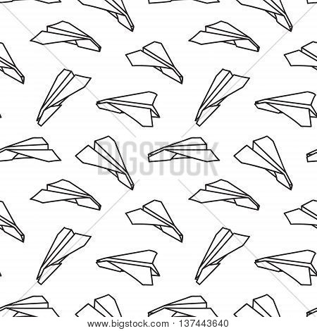 Black and white paper plane seamless pattern vector illustration. Doodle paper planes in the sky seamless background