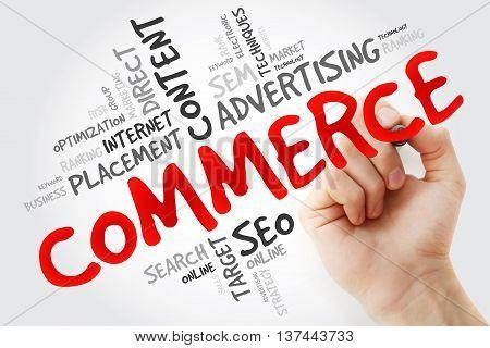 Hand Writing Commerce Word Cloud