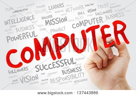 Hand writing COMPUTER with marker business concept background
