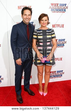 NEW YORK-JUL 22: Actors Paul Rudd (L) and Amy Poehler attend the 'Wet Hot American Summer: First Day of Camp' Series Premiere at SVA Theater on July 22, 2015 in New York City.