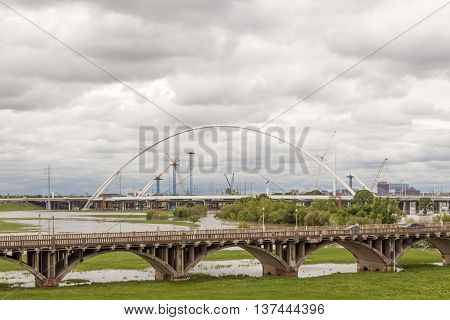 Old and new bridges over the Trinity River in Dallas. Texas United States