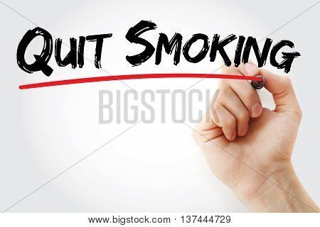 Hand Writing Quit Smoking With Marker
