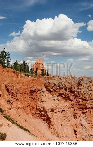 Bryce Canyon National Park vertical landscape with white clouds and blue sky.