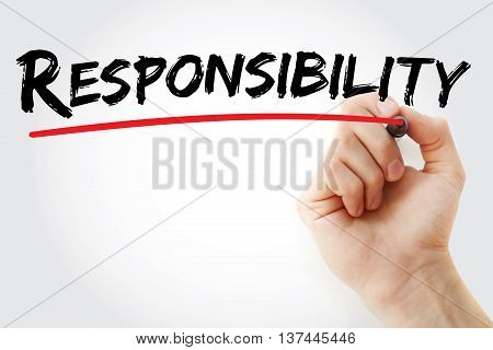 Hand Writing Responsibility With Marker