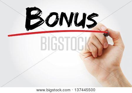 Hand Writing Bonus With Red Marker