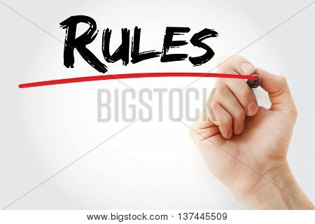 Hand Writing Rules With Red Marker
