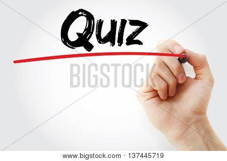 Hand Writing Quiz With Red Marker