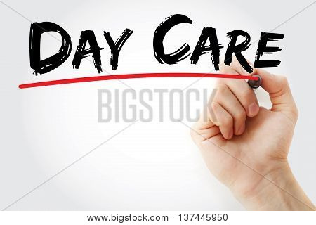 Hand Writing Day Care With Marker