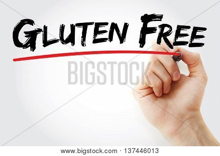 Hand Writing Gluten Free With Marker