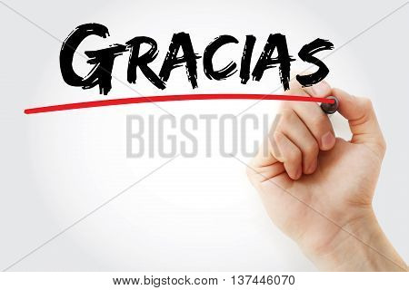 Hand Writing Gracias (thank You In Spanish)