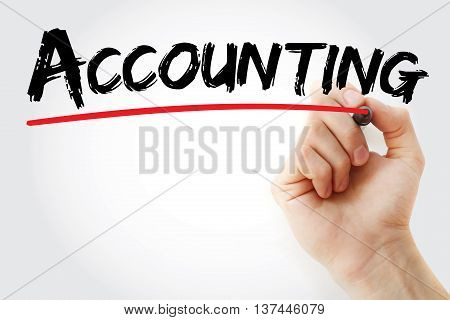 Hand Writing Accounting With Marker