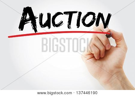 Hand Writing Auction With Marker