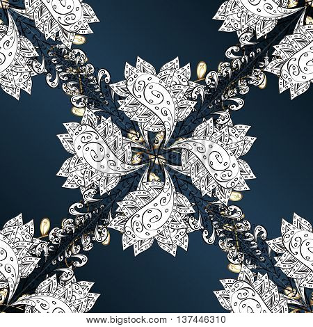 Vector texture with golden and whie floral doodles flowers on dark blue background with shadows.