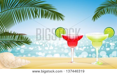 Summer seascape blur bokeh with two margaritas, sea shell and palm leaf. Paradise island. Realistic vector illustration for web or application