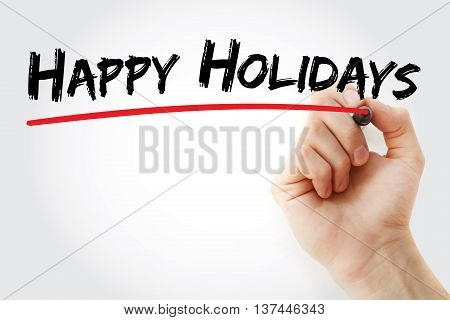 Hand Writing Happy Holidays With Marker