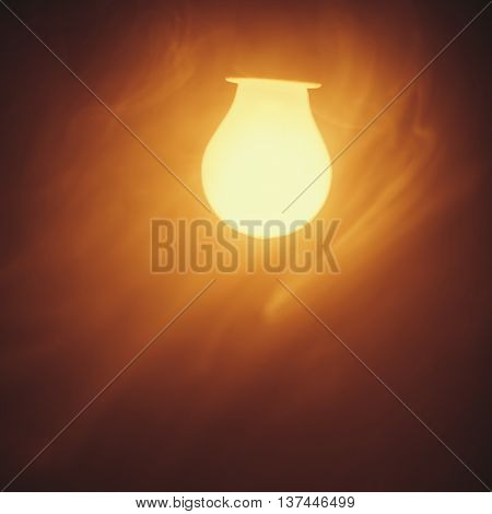 bulb lamp warm light in fog