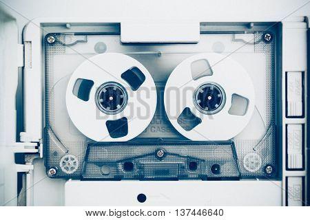 vintage audio tape compact cassette, blue tone