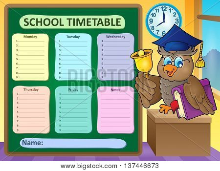 Weekly school timetable topic 9 - eps10 vector illustration.