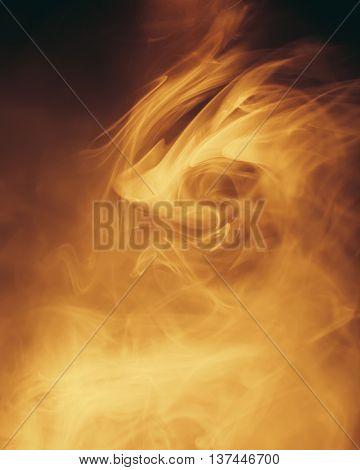 warm light in smoke background