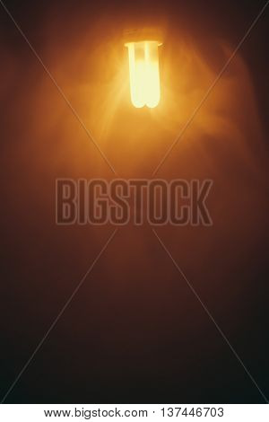 fluorescent lamp, warm light in smoke