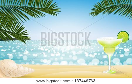 Summer seascape blur bokeh landscape background with tropical coctail, sea shell and palm leaf. Realistic vector illustration for web or application