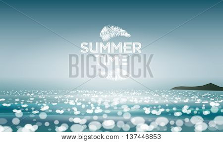 Summer seascape blur bokeh landscape background and palm leaf. Summer Time. Realistic vector illustration for web or application