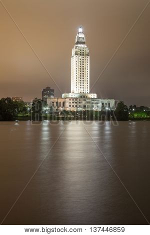 BATON ROUGE LA USA - APR 15 2016: The State Capitol tower in the city of Baton Rouge illuminated at night. Louisiana United States