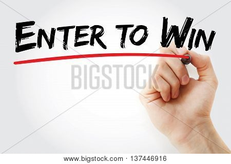 Hand Writing Enter To Win With Marker