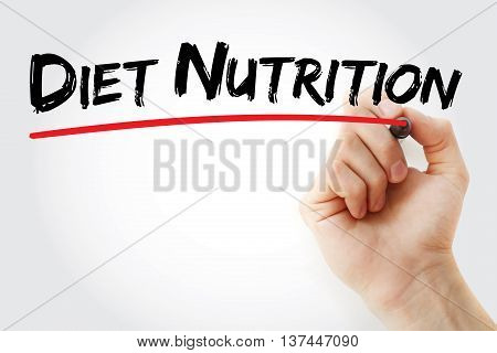 Hand Writing Diet Nutrition With Marker