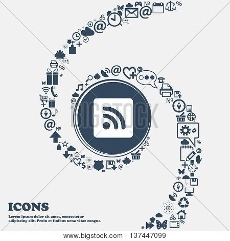Rss Feed Icon Sign In The Center. Around The Many Beautiful Symbols Twisted In A Spiral. You Can Use