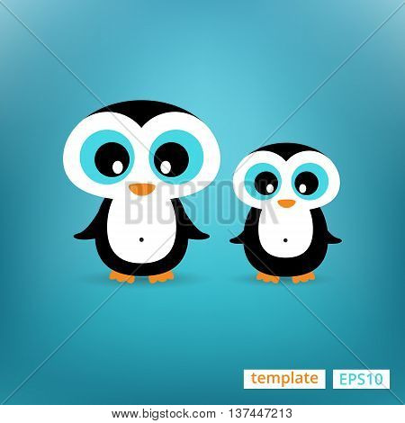 Cute penguins family Mother and Child Illustration standing at clear background
