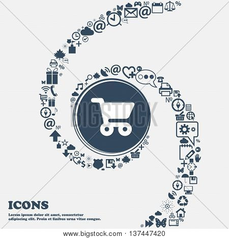 Shopping Basket Icon Sign In The Center. Around The Many Beautiful Symbols Twisted In A Spiral. You