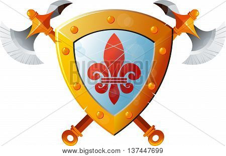Beautiful knight shield with two crossed axes on white background