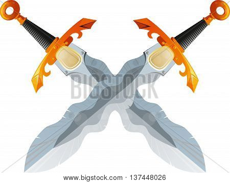 Two crossed swords fantasy beautiful Flamberg isolated on white background