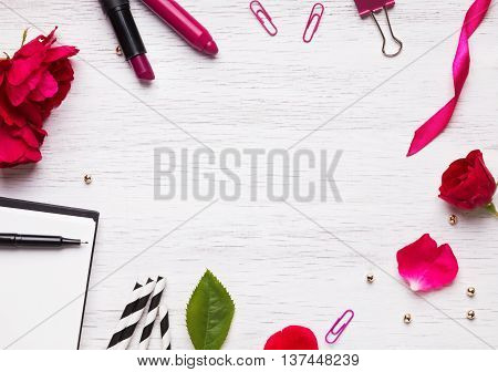 Feminine Stuff On White Background