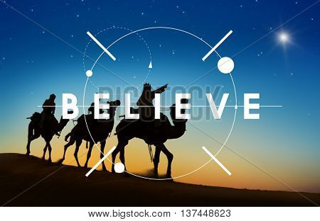 Believe Trust Imagine Positive Thinking Concept