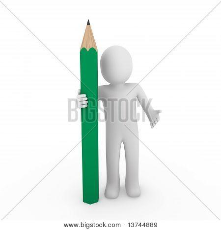 3D Human Green Pencil