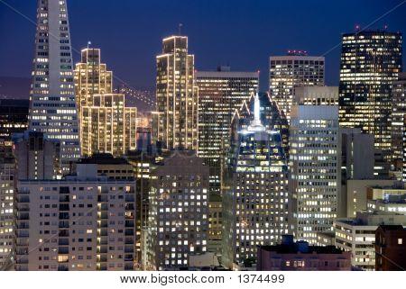 San Francisco, California Financial District Buildings At Night
