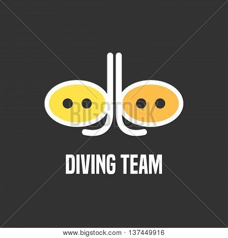 Diving and snorkeling vector logo icon symbol emblem sign design element. Underwater diving illustration