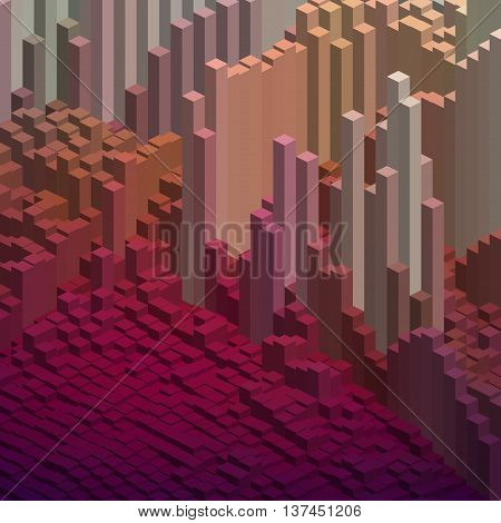 Abstract Background With 3D Cubes. Vector Cube Box For Business Concepts. Brown, Beige Colors.