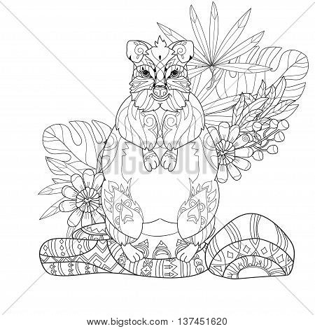 Hand drawn animal quokka hand drawn in zen art style. Vector monochrome sketch doodle.Tattoo, totem, anti stress coloring page.