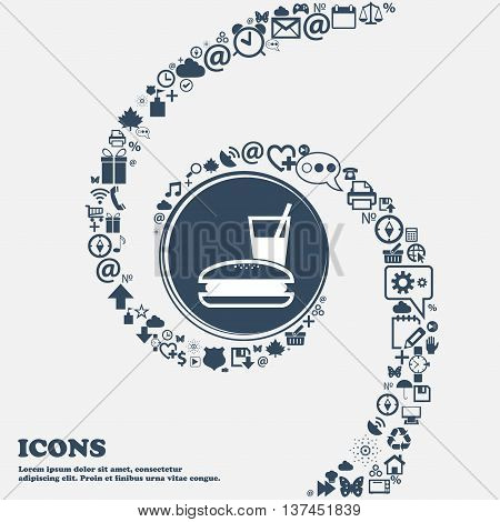 Lunch Box Icon Sign In The Center. Around The Many Beautiful Symbols Twisted In A Spiral. You Can Us