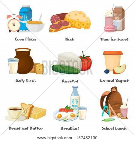 Milk food decorative icons set with corn flakes dairy fresh products school lunch breakfast isolated vector illustration